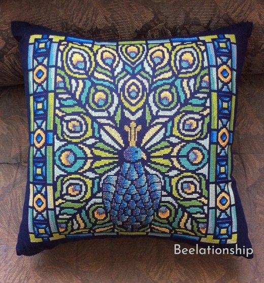 Peacock in an Art Nouveau Style Cushion