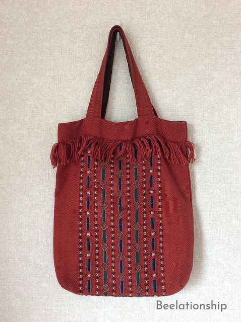 African Motif Fringed Tote Bag