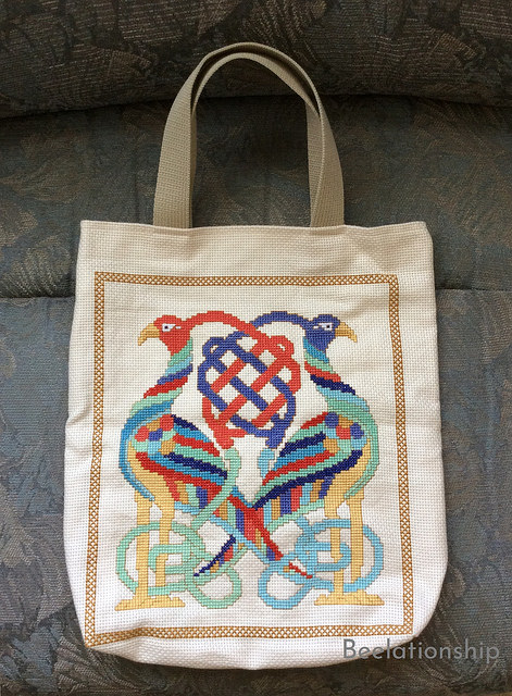 Celtic Birds Entwined Tote Bag -Brighter Colors on Off-White Cloth-