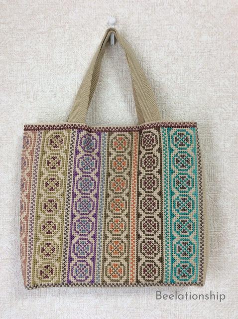 Circle and Cross Motif Striped Tote Bag