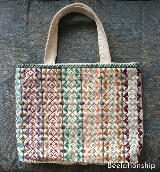 Square Motif Striped Tote Bag