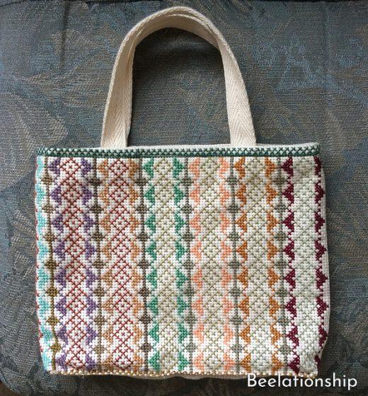 Square Motif Striped Tote Bag